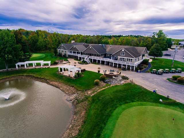 Aerial view of the clubhouse at The Links At Erie Village