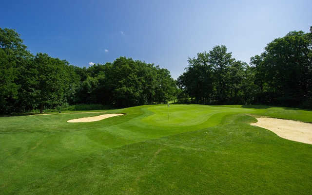 A view of the 17th green at Woodlands Course from Oak Park Golf Club.