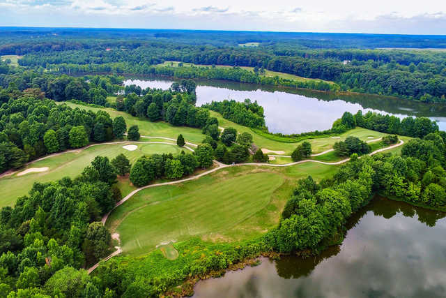Aerial view of the 5th hole at The Gauntlet Golf Club