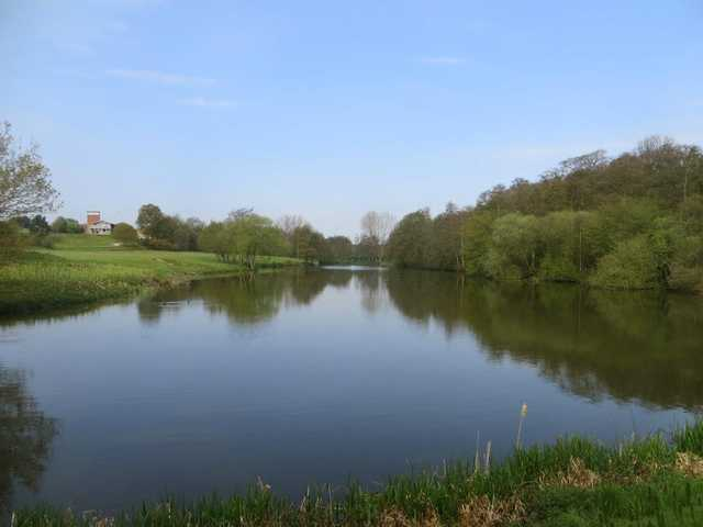 A view over the water of the 10th hole at Gainsborough Course from Stoke by Nayland Golf Club.