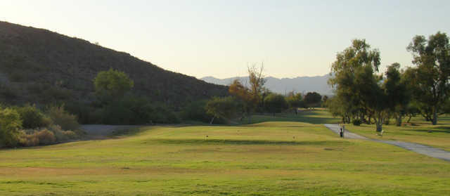 A view of a tee from Tres Rios Golf Course at Estrella Mountain Park.