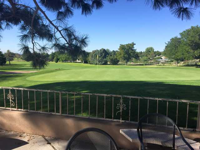 A view of a green at Paradise Hills Golf Course.