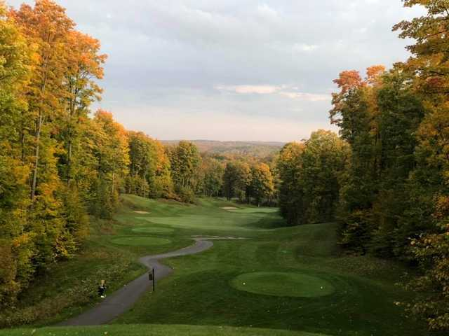 A fall day view from a tee at Hawk's Eye Golf Resort.