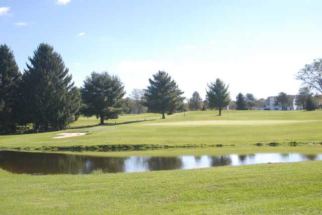 A view of a hole with water coming into play at Carroll Meadows Golf Course.