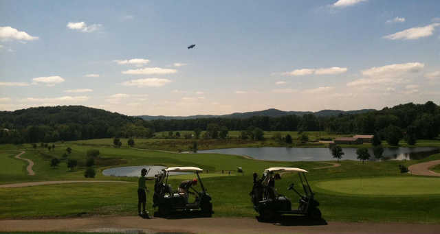 A sunny day view from Oak Shadows Golf Club.