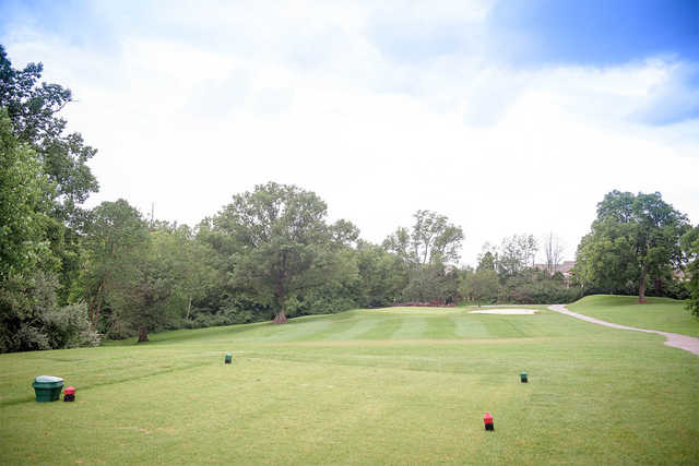 A view of a tee at Championship Course from Woodhaven Country Club.