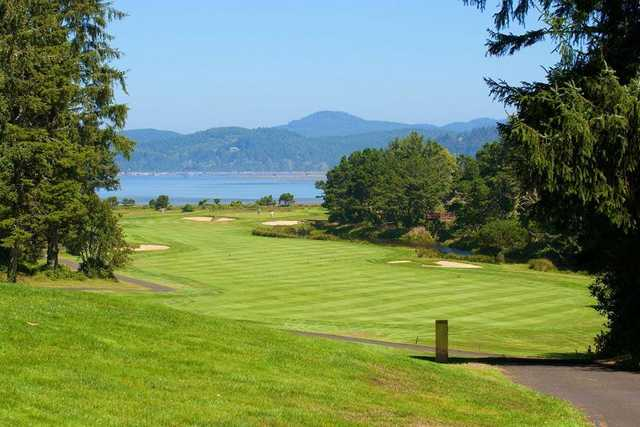 A sunny day view of a fairway from Salishan Golf Links