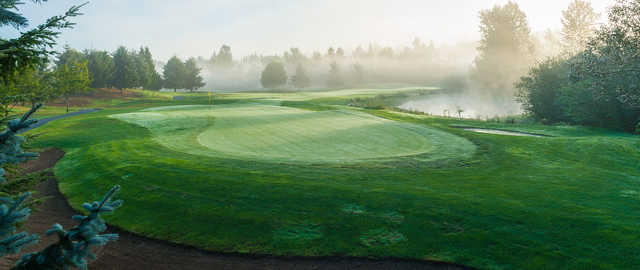 An early morning day view of a green at Coyote Creek Course from Willows Run Golf Club.