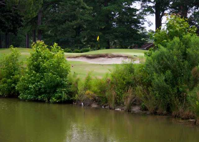 A view over the water of a hole at Kempsville Greens Golf Course.