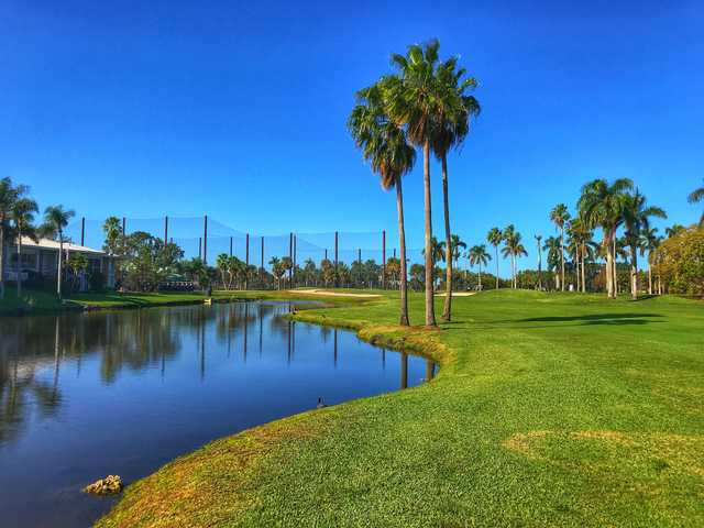 View of the 18th hole from the East course at Country Club of Miami