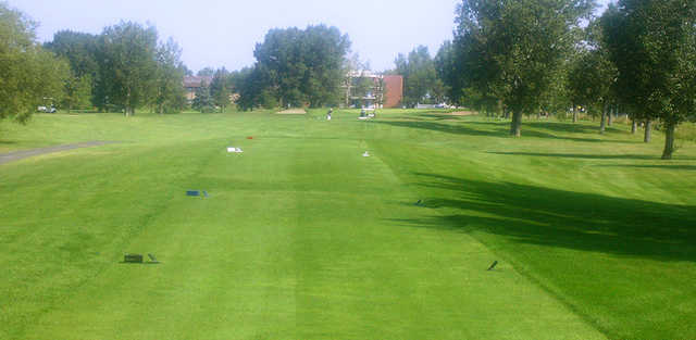 A view of a tee from The Bridges at Claresholm Golf Course.
