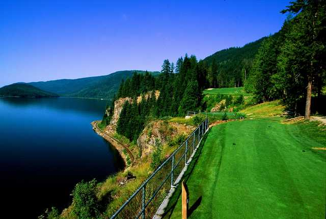A view of a tee from Hyde Mountain on Mara Lake Golf Course.