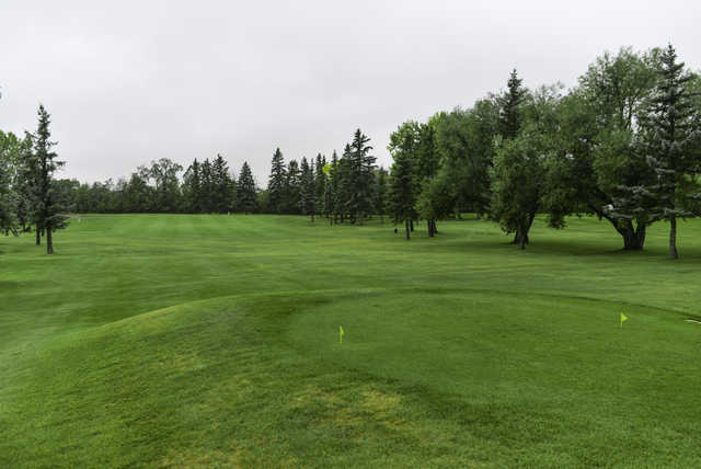 A view of a tee at Leduc Golf and Country Club.