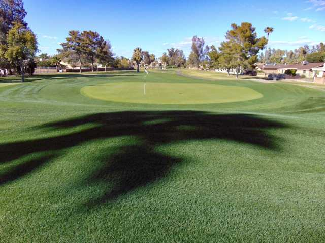 Looking back from a green at Arizona Golf Resort