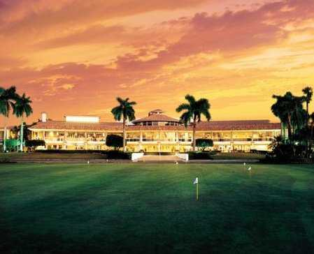 A view of the clubhouse and putting green at Trump National Doral Miami