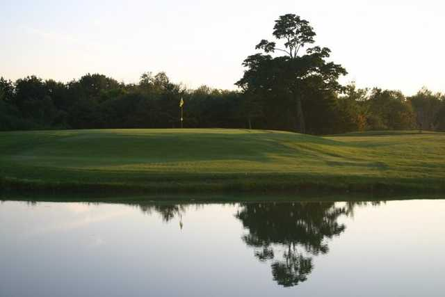 The pond in front of the par 5 12th green.