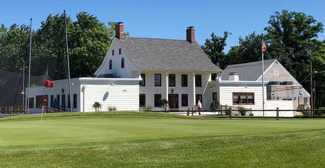 A view of hole #9 and the clubhouse at Scotch Hills Country Club.
