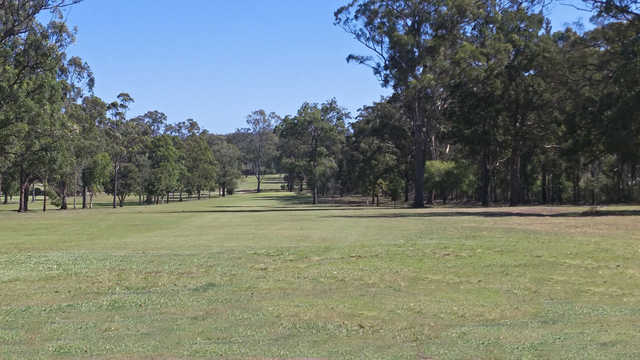 A view of fairway #1 at Kempsey Golf Club.