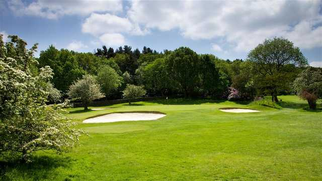 A spring day view of a hole at Pannal Golf Club.