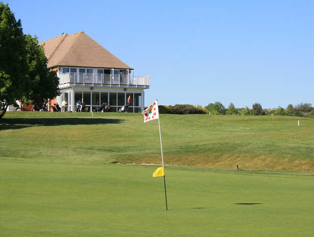 A view of a hole and the clubhouse at Vale Golf & Country Club.