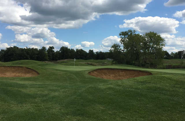 A view of a well protected hole at Foxfire Golf Club.