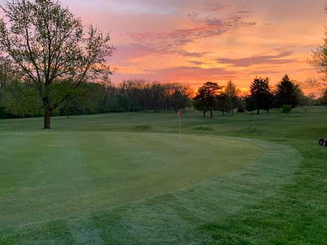 A sunset view of a hole at Elks 797 Golf Club.