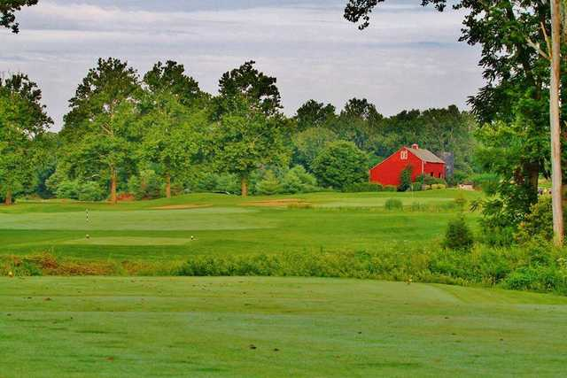 A view of a tee at Majestic Springs Golf Course.