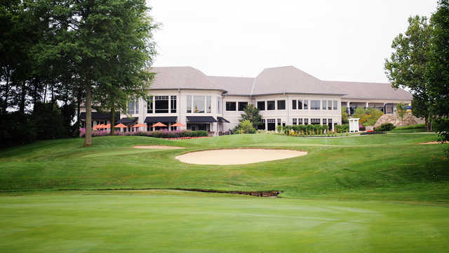 A view of green and the clubhouse at Scioto Reserve Golf & Athletic Club.