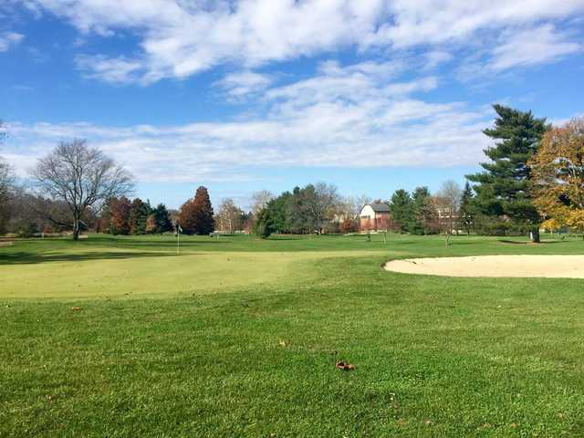 A fall day view of a hole at Ohio University Golf Course.