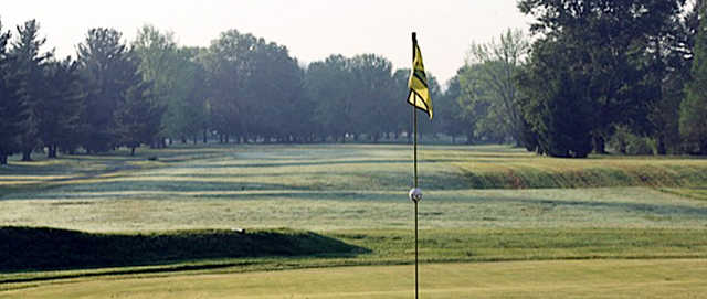A view from a green at Riverside Golf Course.