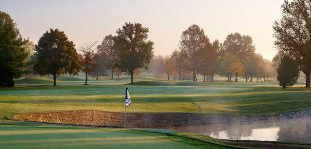 A fall day view from a green at Worthington Hills Country Club.