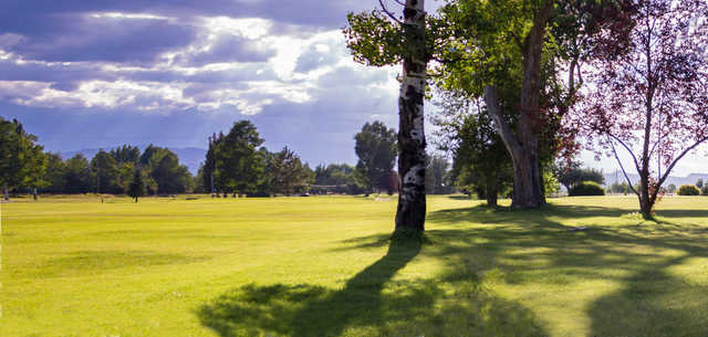 A sunny day view of a fairway at Monte Vista Country Club.